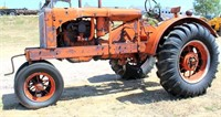 1937 Allis Chalmers WC, 4-cyl gas eng, spoke wheels, hand crank, new rear rubber, fenders & tool box, narrow front, SN: 58918, view 1