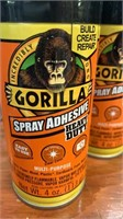 2 cans of Gorilla spray adhesive