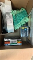 Box of misc. (privacy screen, lights, wall cover,