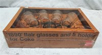 1890's-style flair glass & holders