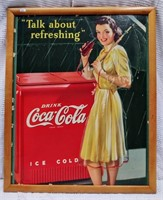 """Talk About Refreshing"" - 16""x27"" Coca-Cola sign"