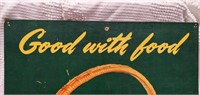 "1951 Coca-Cola 27""x16"" market basket sign"