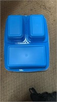 Box of plastic lunch containers