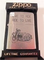 """Zippo """"Live to Ride, Ride to Live"""" lighter -unused"""