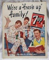 """17""""x13.5"""" 7-UP sign """"We're a Fresh Family"""" litho"""