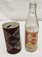 Coca-Cola, early diamond pattern can & bottle