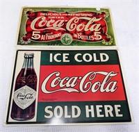 (2) metal Coca-Cola advertising signs