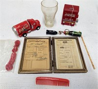 lot of Coca-Cola advertising items
