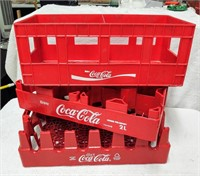 (3) red plastic Coca-Cola carriers