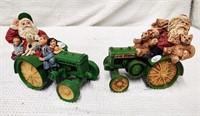 (2) John Deere Tractors w. Santa Claus