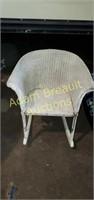 Vintage white wicker children's rocking chair, 20