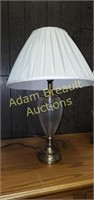 2 glass and Polished brass 24 inch table lamps