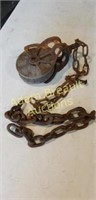 Vintage steel and wood block and tackle with