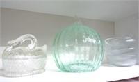 Art Glass Pumpin, Swan Basket, Dessert Dishes