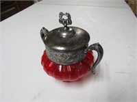Cranberry & Silver Plate Sugar Bowl
