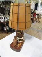 Folk Art Carved Signed Wood Lamp