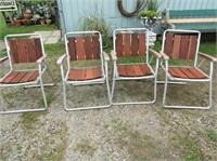4 Aluminum Wood Slat Folding Chairs