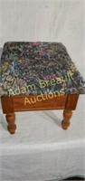 Wood storage footstool with padded lid