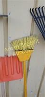 Plastic Leaf rakes, broom, scraper