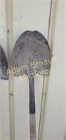 2 wood handled Spade shovels
