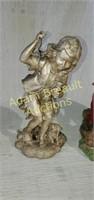 4 assorted plastic resin flower garden figurines