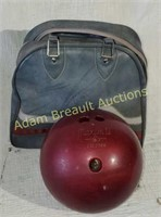 Vintage Ebonite Maxim IV bowling ball and case