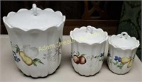 3 piece porcelain Jay import company canister set