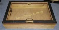 Custom built wooden display box, 14 x 22.5 x 5