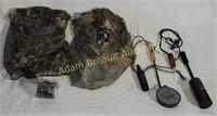 Assorted turkey hunting gear - 2 camo mesh hats,