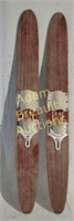 Two vintage 48 in wooden water skis