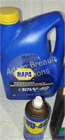 Assorted partial bottles lubricants, coolant,