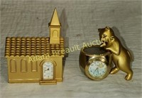 2 Elgin mini gold figurine clocks - church & cat