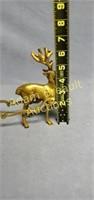 Vintage brass 11 inch reindeer and sleigh