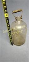 Vintage 11 in glass bottle jug with handle