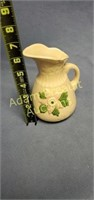 USA pottery 6 in pink flower water pitcher
