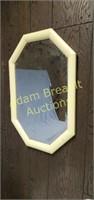Vintage wood frame octagon mirror