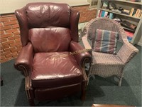 Lane Leather Chair and Wicker Chair