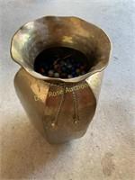 Brass Vase Full Of Marbles