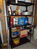 Shelf & contents - funnels, gumout, antifreeze