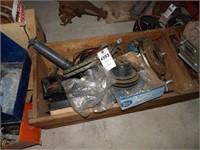 wooden crate w/ automotive parts