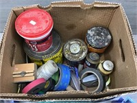 BOX OF GREASE, TAPE, CHALK LINE, SEALING COMPOUND