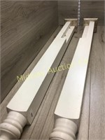 2 WHITE WOODEN END POSTS