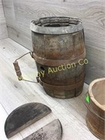 VINTAGE WOODEN DRUM (DAMAGED) WITH PAIL