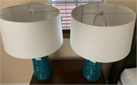 21 - PAIR OF BEAUTIFUL MATCHING BLUE LAMPS
