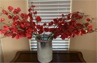 21 - BEAUTIFUL VASE W/ RED FLOWERS