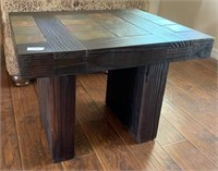 21 - BEAUTIFUL WOOD & TILE TOP TABLE