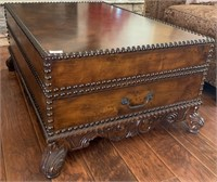 21 - STUNNING WOOD NAILHEAD COFFEE TABLE W/DRAWER