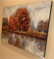 21 - BEAUTIFUL FALL TREE ON THE LAKE WALL ART