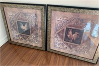 21 - BEAUTIFUL FRAMED PAIR OF ROSTER WALL ART