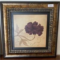 21 - PAIR OF FRAMED FLOWER WALL ART
